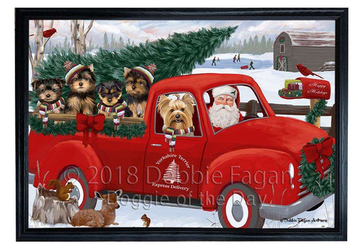 Christmas Santa Express Delivery Yorkshire Terriers Dog Family Framed Canvas Print Wall Art FCVS169567