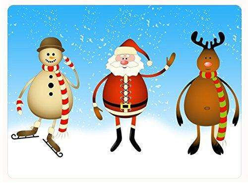 Christmas Santa, Snowman and Reindeer Large Cutting Board