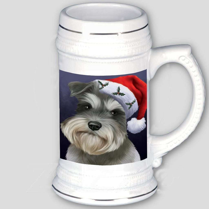 Christmas Schnauzers Dog Holiday Portrait with Santa Hat Beer Stein