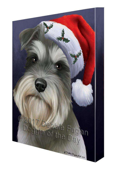 Christmas Schnauzers Dog Holiday Portrait with Santa Hat Canvas Wall Art