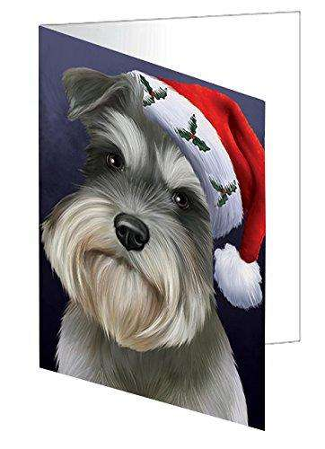 Christmas Schnauzers Dog Holiday Portrait with Santa Hat Greeting Card