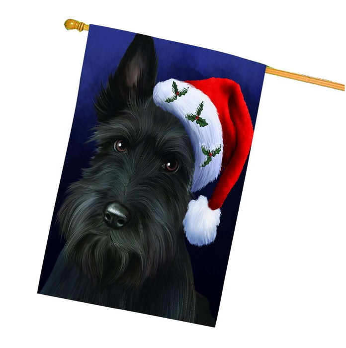 Christmas Scottish Terrier Dog Holiday Portrait with Santa Hat House Flag