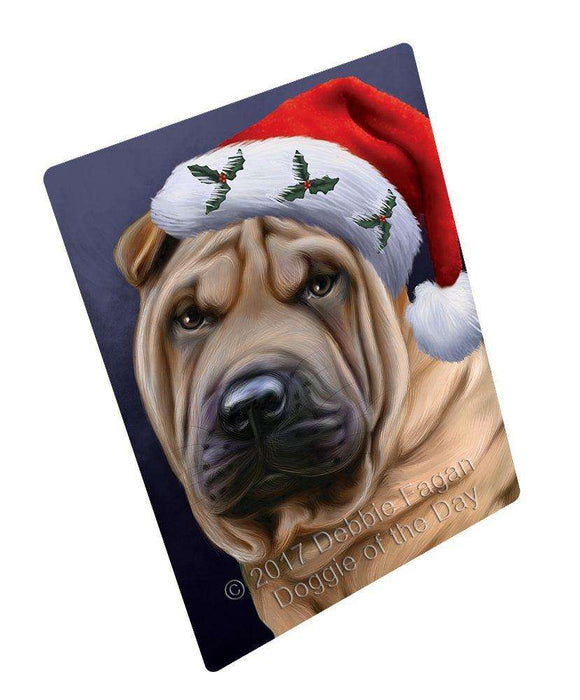 Christmas Shar Pei Dog Holiday Portrait with Santa Hat Magnet
