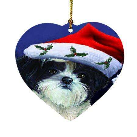 Christmas Shih Tzu Dog Holiday Portrait with Santa Hat Heart Ornament D003