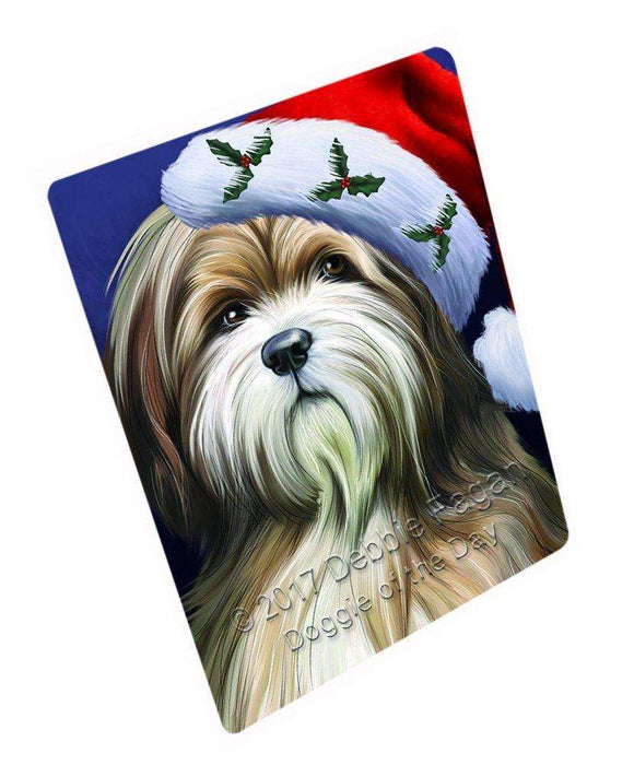 Christmas Tibetan Terrier Dog Holiday Portrait with Santa Hat Art Portrait Print Woven Throw Sherpa Plush Fleece Blanket D127