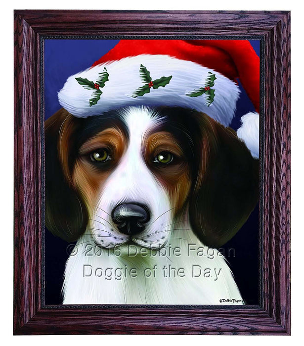 Christmas Treeing Walker Coonhound Dog Holiday Portrait with Santa Hat Framed Canvas Print Wall Art