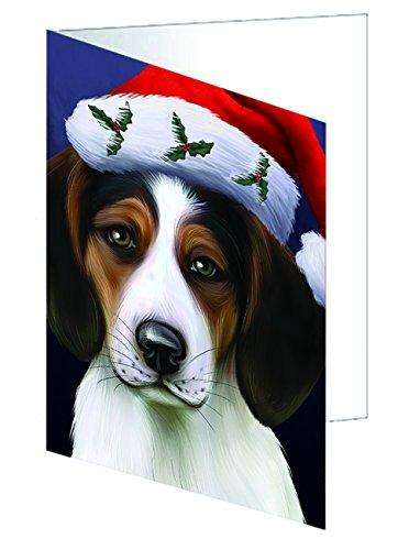 Christmas Treeing Walker Coonhound Dog Holiday Portrait with Santa Hat Greeting Card