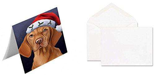 Christmas Vizsla Dog Holiday Portrait with Santa Hat Greeting Card