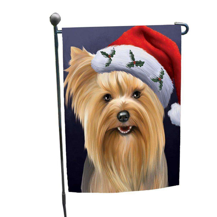 Christmas Yorkshire Terriers Dog Holiday Portrait with Santa Hat Garden Flag