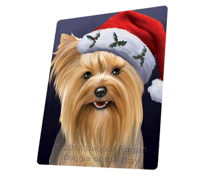 "Christmas Yorkshire Terriers Dog Holiday Portrait With Santa Hat Magnet Mini (3.5"" x 2"")"