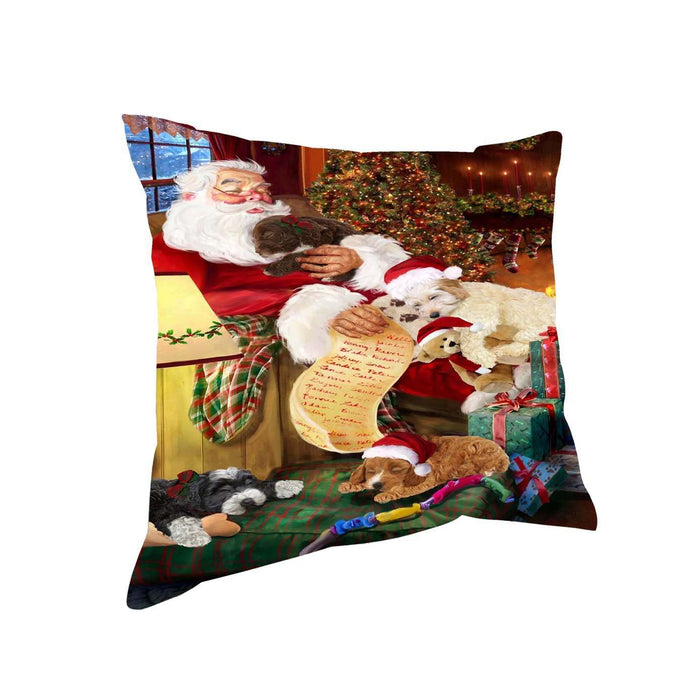 Cockapoo Dog and Puppies Sleeping with Santa Throw Pillow