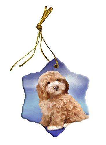 Cockapoo Dog Christmas Snowflake Ceramic Ornament