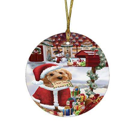 Cockapoo Dog Dear Santa Letter Christmas Holiday Mailbox Round Flat Christmas Ornament RFPOR53522