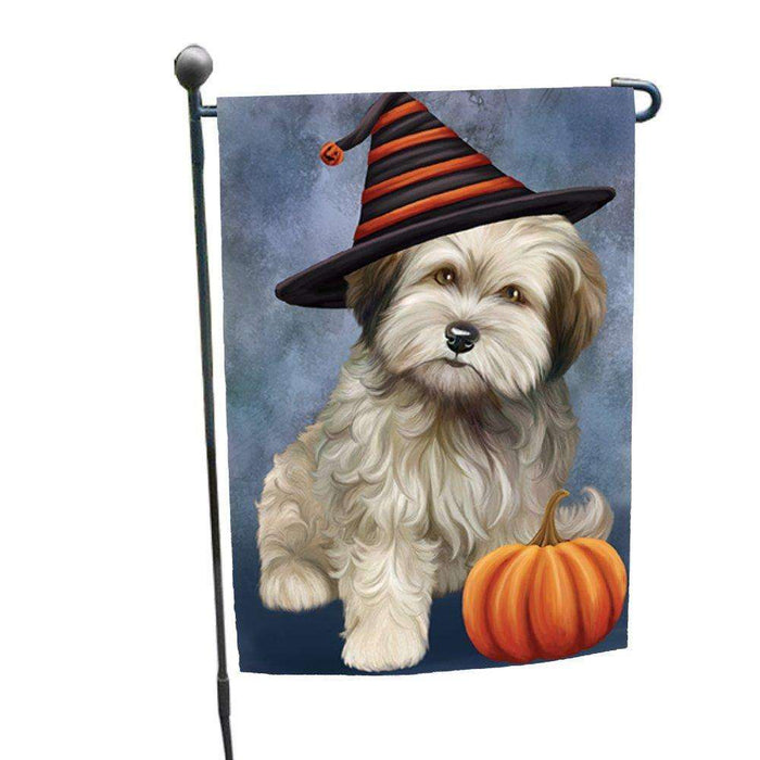 Cockapoo Dog Wearing Witch Hat with Pumpkin Garden Flag