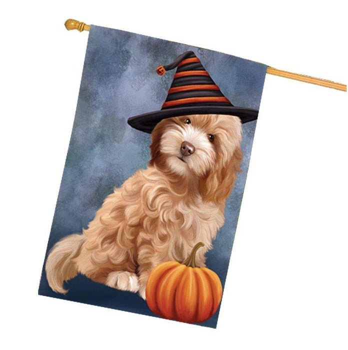 Cockapoo Dog Wearing Witch Hat with Pumpkin House Flag