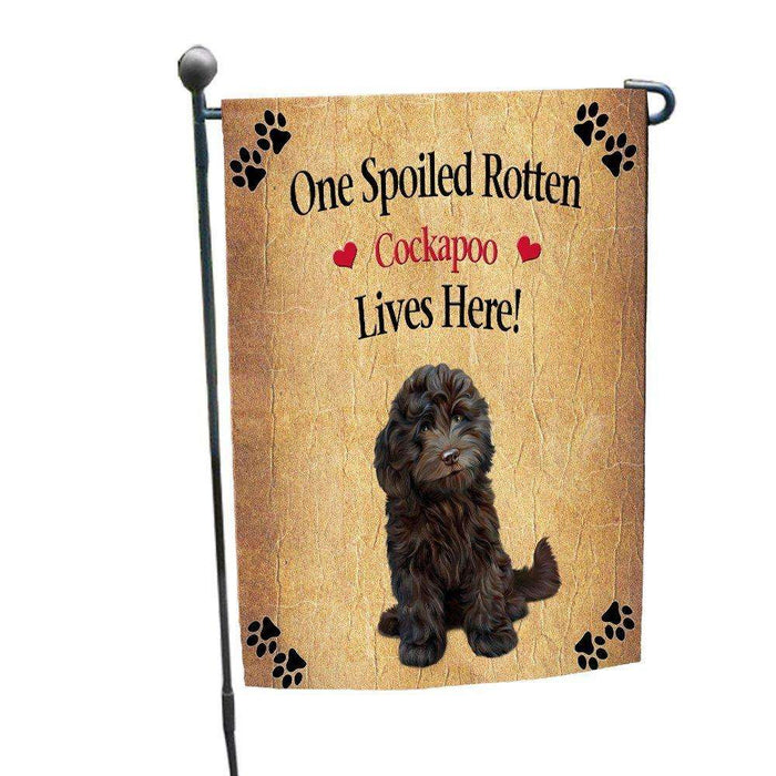 Cockapoo Spoiled Rotten Dog Garden Flag