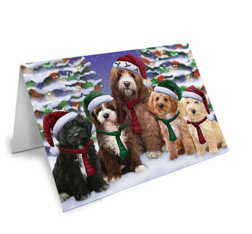 Cockapoos Dog Christmas Family Portrait in Holiday Scenic Background Note Card NCD62159