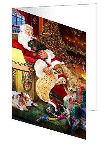 Cocker Spaniel Dog and Puppies Sleeping with Santa Greeting Card