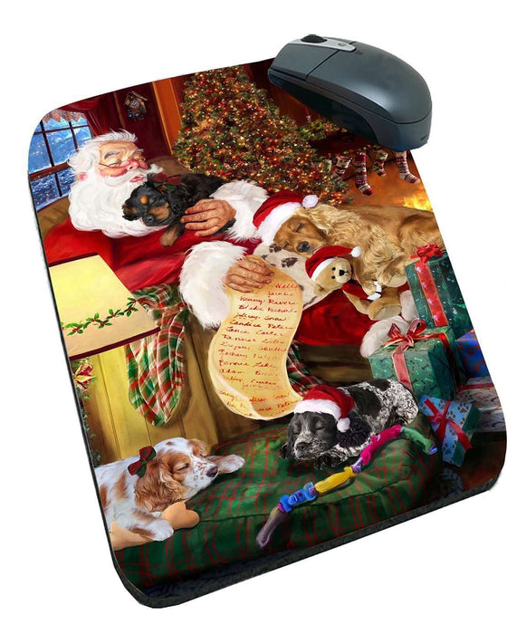 Cocker Spaniel Dog and Puppies Sleeping with Santa Mousepad