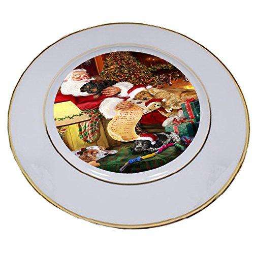 Cocker Spaniel Dog and Puppies Sleeping with Santa Porcelain Plate