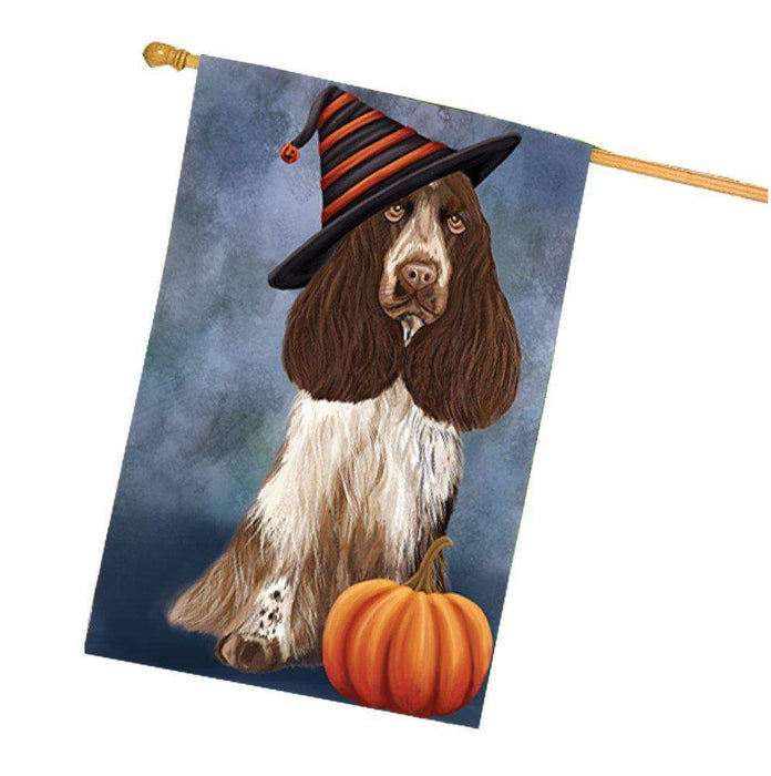Cocker Spaniel Dog Wearing Witch Hat with Pumpkin House Flag