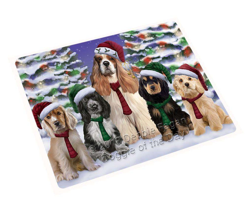 "Cocker Spaniels Dog Christmas Family Portrait In Holiday Scenic Background Magnet Mini (3.5"" x 2"") MAG62226"