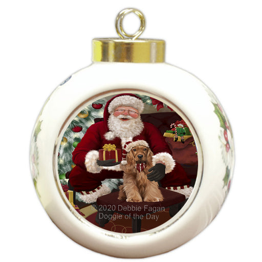 Santa's Christmas Surprise Cocker Spaniel Dog Round Ball Christmas Ornament RBPOR58015