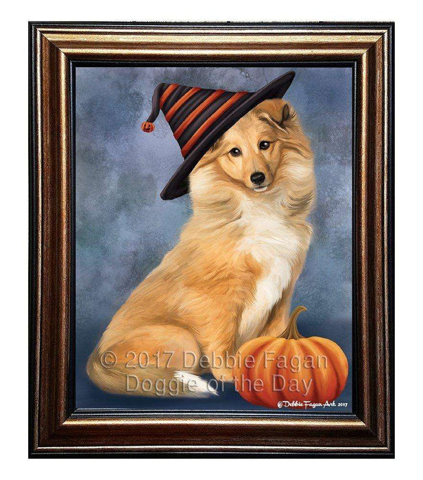 Collie Dog Wearing Witch Hat with Pumpkin Framed Canvas Print Wall Art