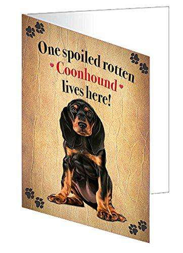 Coonhound Black And Tan Spoiled Rotten Dog Note Cards
