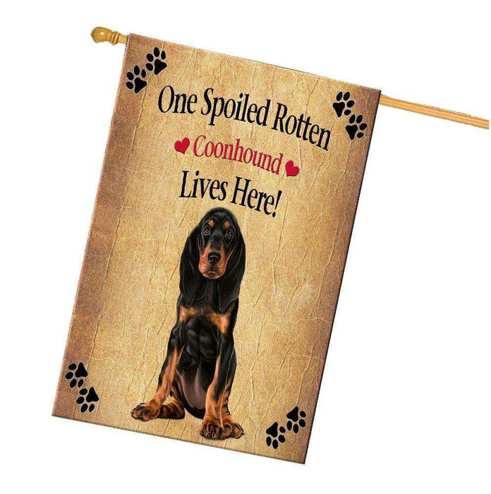 Coonhound Spoiled Rotten Dog House Flag