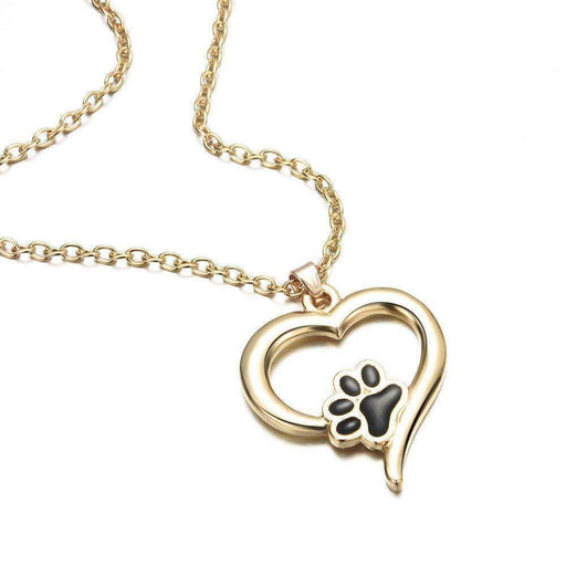 Dog Cat Lover Paw Print Necklace Heart Silver or Gold