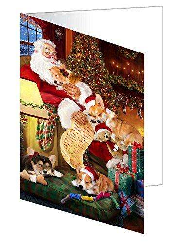 Corgi Dog and Puppies Sleeping with Santa Note Card