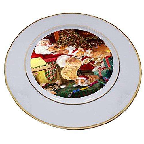 Corgi Dog and Puppies Sleeping with Santa Porcelain Plate