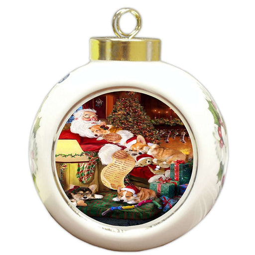 Corgi Dog and Puppies Sleeping with Santa Round Ball Christmas Ornament