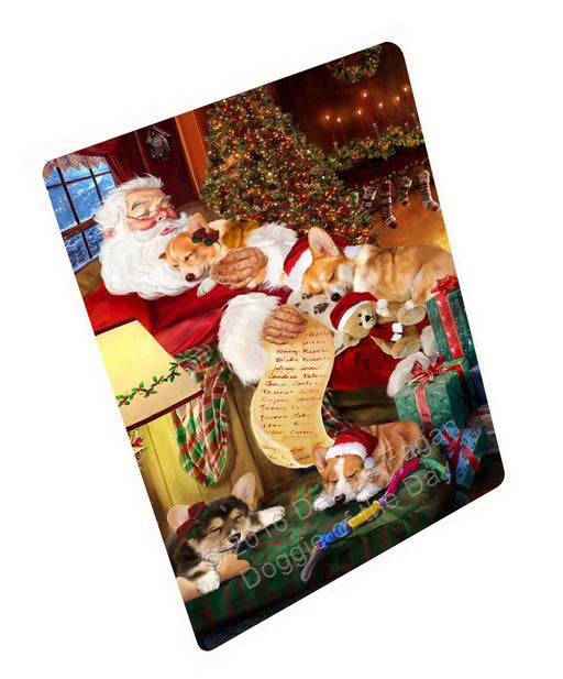 Corgi Dog and Puppies Sleeping with Santa Tempered Cutting Board