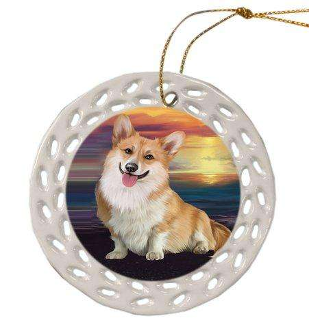 Corgi Dog Christmas Doily Ceramic Ornament