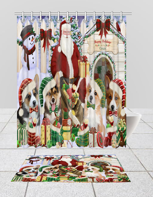 Happy Holidays Christmas Corgi Dogs House Gathering Bath Mat and Shower Curtain Combo