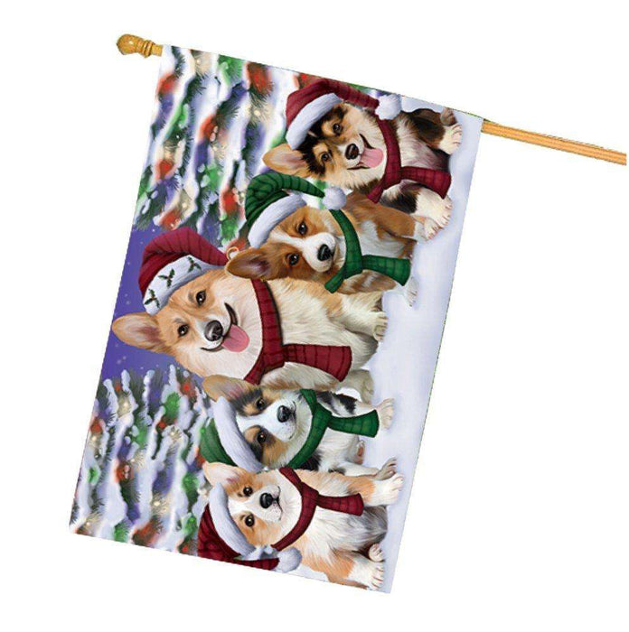 Corgis Dog Christmas Family Portrait in Holiday Scenic Background House Flag