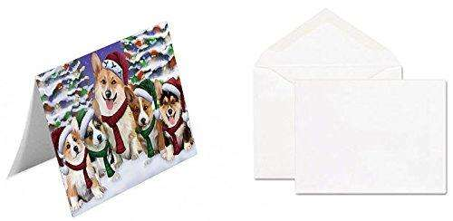 Corgis Dog Christmas Family Portrait in Holiday Scenic Background Note Card