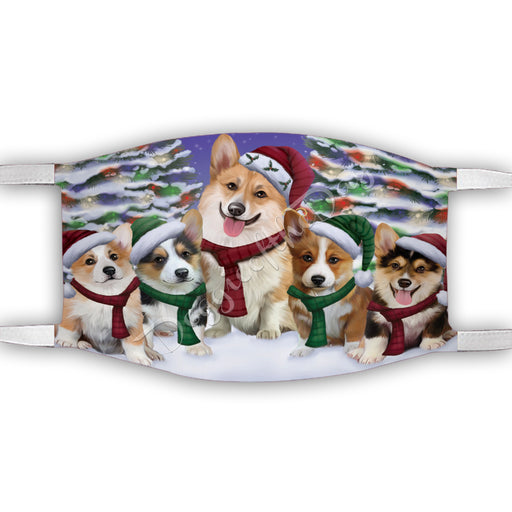 Corgi Dogs Christmas Family Portrait in Holiday Scenic Background Face Mask FM48338