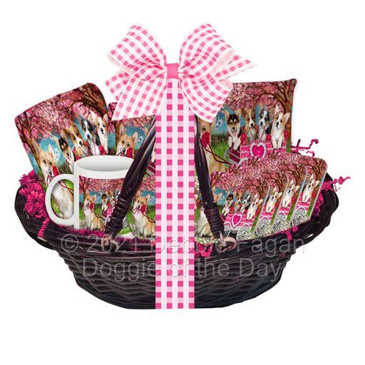Mother's Day Gift Basket Corgi Dogs Blanket, Pillow, Coasters, Magnet, Coffee Mug and Ornament