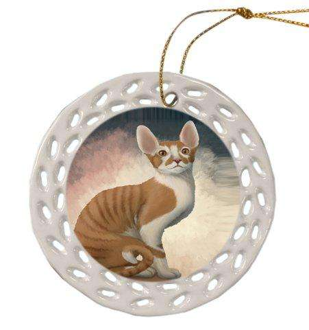 Cornish Red Cat Christmas Doily Ceramic Ornament