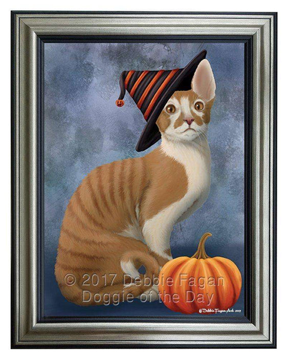 Cornish Red Cat Wearing Witch Hat with Pumpkin Framed Canvas Print Wall Art