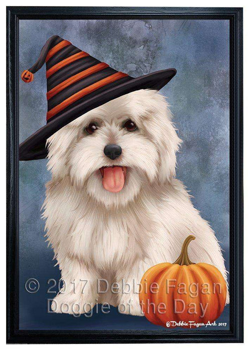 Coton De Tulear Dog Wearing Witch Hat with Pumpkin Framed Canvas Print Wall Art