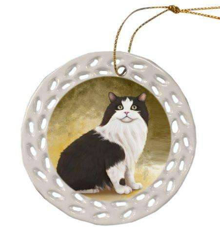 Cymric Cat Christmas Doily Ceramic Ornament