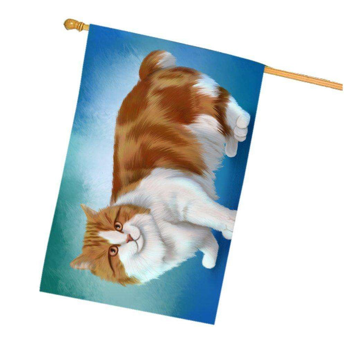 Cymric Orange And White Cat House Flag