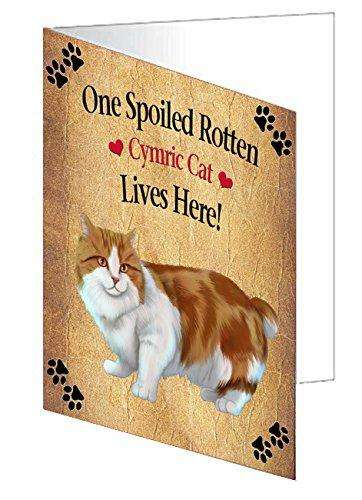 Cymric Orange And White Spoiled Rotten Cat Note Card