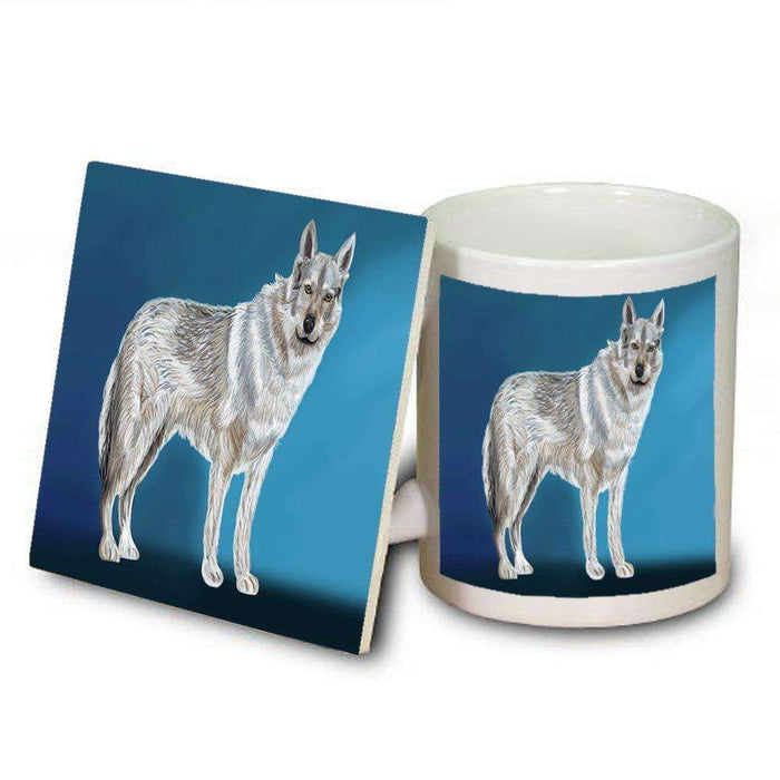 Czechoslovakian Wolfdog Dog Mug and Coaster Set