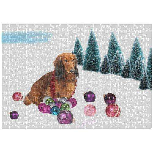 Dachshund Christmas 252 Pc. Puzzle with Photo Tin