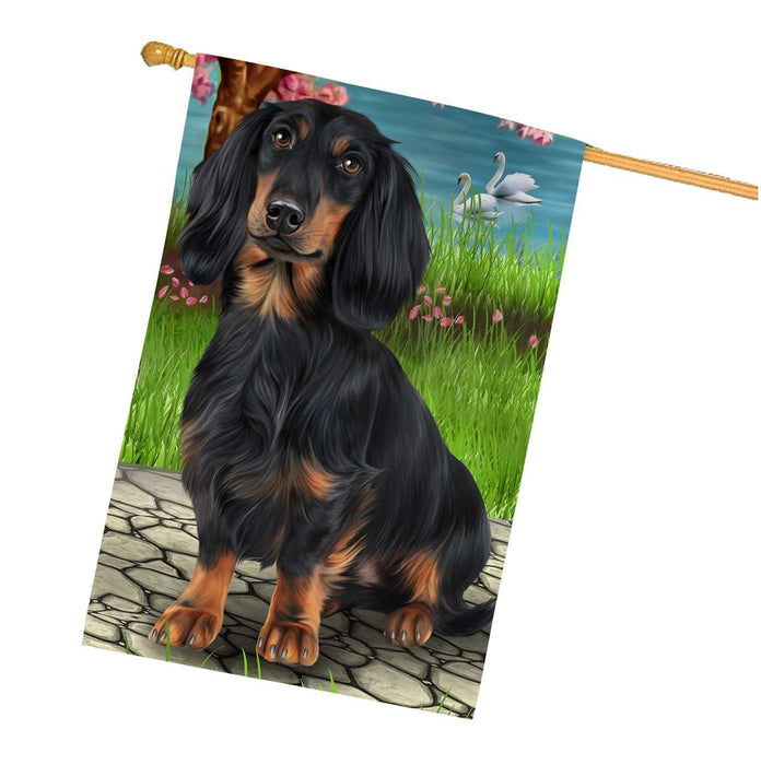 Dachshund Dog House Flag